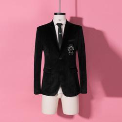 104553 DO 시그니처 비즈 장식 벨벳 싱글 자켓 (Black)
