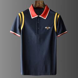 105026 GU 컬러라인 벌패치 하프 카라 티셔츠 (2Color)