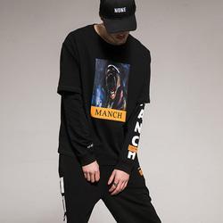 105090 언유즈얼 프린팅 레이어드 티셔츠 (Black)