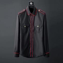 105093 레드 삥줄 견장 셔츠 (Black)