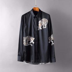 105118 GU 레오파드 히든버튼 셔츠 (Black)