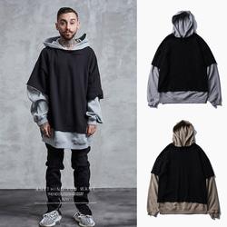 105182 레어스 레이어드 오버핏 후드 티셔츠 (Black+Beige)