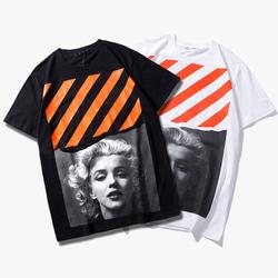 105195 먼로 사선스트라이프 하프 티셔츠 (2Color)