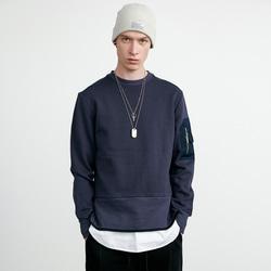 105211 슬리브 싱글포켓 맨투맨 티셔츠 (Black)