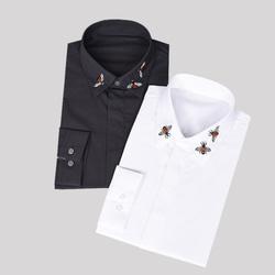 105240 GU 벌자수 카라 히든버튼 셔츠 (2Color)