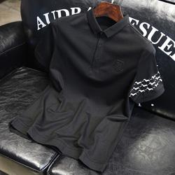 105367 슬리브 퍼피패턴 하프 카라 티셔츠 (Black)