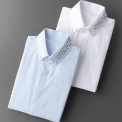 105568 페뷸러스 핸드레터링 카라 히든버튼 셔츠 (2Color)