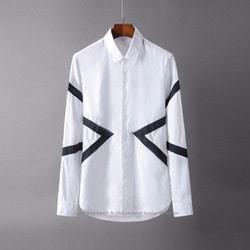 105574 NE 사이드 지오메트리라인 히든버튼 셔츠 (White)