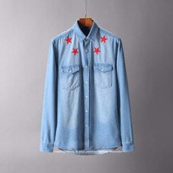 105578 GI 라운드 레드스타 포인트 더블포켓 데님 셔츠 (Sky Blue)
