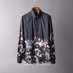 105580 글로벌로얄 캣워크 하프 프린팅 히든버튼 셔츠 (2Color)