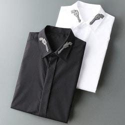 105586 피스톨 엠브로이드 카라 히든버튼 셔츠 (2Color)