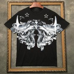 105603 GI 시메트릭 버팔로 머스태쉬 프린팅 하프 티셔츠 (Black)