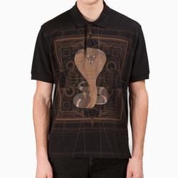 105627 GI 더저트 코브라 기하학패턴 하프 카라 티셔츠 (Black)