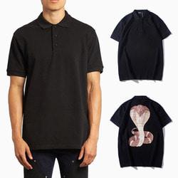 105628 GI 코브라 가드 백프린팅 하프 카라 티셔츠 (Black)