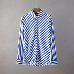 105810 노벨라인 다이아그널 스트라이프 히든버튼 셔츠 (2Color)