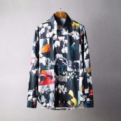 105789 DI 아티스틱 플라워 믹스포토 히든버튼 셔츠 (Black)