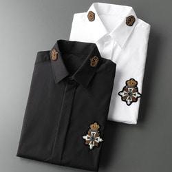 105808 DO 크라운 카라포인트 엠브로이드 히든버튼 셔츠 (2Color)