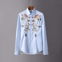 105836 GU 로얄 시메트릭라인 네이처 엠브로이드 셔츠 (2Color)