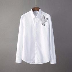 105804 플라잉버드 엠브로이드 포인트 히든버튼 셔츠 (2Color)