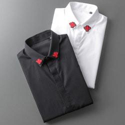 105795 GU 시메트릭 벌자수 카라 히든버튼 셔츠 (2Color)