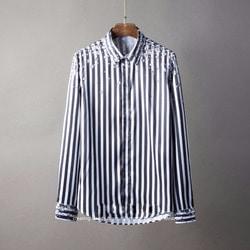 105805 다이아몬드 레인데이 스트라이프 히든버튼 셔츠 (Black)