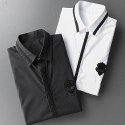 106012 DO 크라운벌 엠브로이드 라인패턴 히든버튼 셔츠 (2Color)