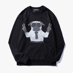106081 GI 브이라인 젠틀퍼그 프린팅 맨투맨 티셔츠 (Black)
