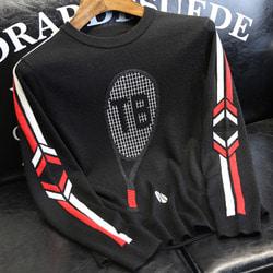 105992 애로우트랙 슬리브 테니스라켓 프린팅 니트 (Black)
