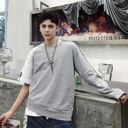 105940 유니크라인 하프 슬리브리스 언발란스 티셔츠 (Gray)