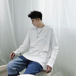 105910 유니크라인 다이아그널 윙클포인트 티셔츠 (White)