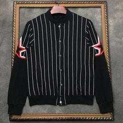 105974 GI 더블라인 슬리브스타 스트라이프 블루종 점퍼 (Black)