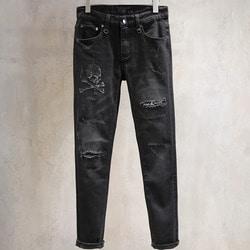 106073 PH 시그니처 데스스컬 엠브로이드 데님 팬츠 (Black)