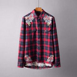106016 오리엔탈 드래곤 엠브로이드 타탄체크 셔츠 (Red)