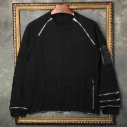 106345 유니크 베리어스라인 지퍼포인트 맨투맨 티셔츠 (Black)
