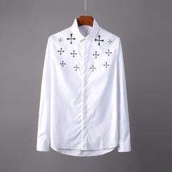 106262 CH 시메트릭 크로스라인 패턴 히든버튼 셔츠 (2Color)