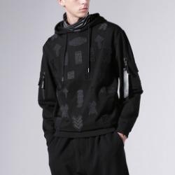106355 시메트릭라인 베리어스 멀티 패치 후드 티셔츠 (Black)