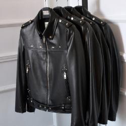 106560 유니크 다이아몬드 비조 다운버튼 레더 점퍼 (Black)