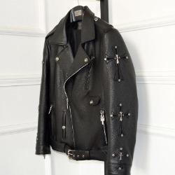 106542  시메트릭라인 크로스 패턴 라이더 점퍼 (Black)