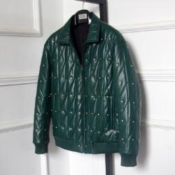 106495 다이아그널 다이아몬드 징포인트 레더 점퍼 (Green)
