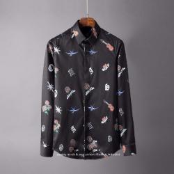 106800 샤이어 베리어스 멀티프린팅 히든버튼 셔츠 (Black)