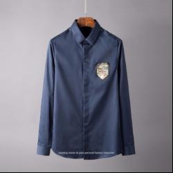 106797 버터플라이 엠블럼 프린팅 히든버튼 셔츠 (2Color)