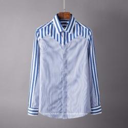 106799 오블리오 블렌딩 스트라이프 히든버튼 셔츠 (Blue)
