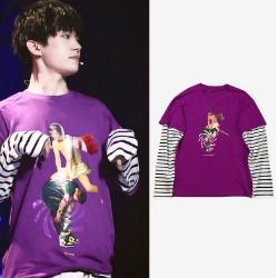 106987 허리케인 스트라이프 레이어드 티셔츠 (Purple)