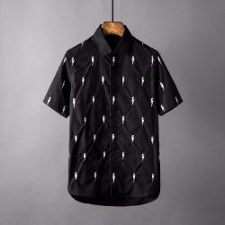 106879 NE 썬더라인 엠브로이드 히든버튼 셔츠 (2Color)