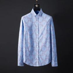 107089 VA 다이아그널 로고패턴 스트라이프 셔츠 (Blue)