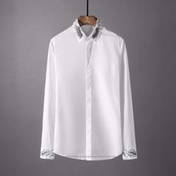 106869 유니크 네크라인 프린팅 히든버튼 셔츠 (2Color)