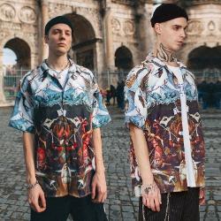 107059 디스시밀러 그라데이션 프린팅 하프 셔츠 (Multi)