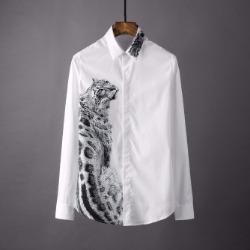 106867 유니크 재규어 프린팅라인 히든버튼 셔츠 (White)