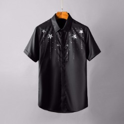 106863 GI 스타레인 히든버튼 하프 셔츠 (4Color)