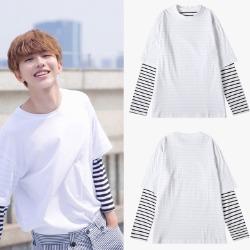 106991 데일리라인 스트라이프 레이어드 티셔츠 (White)
